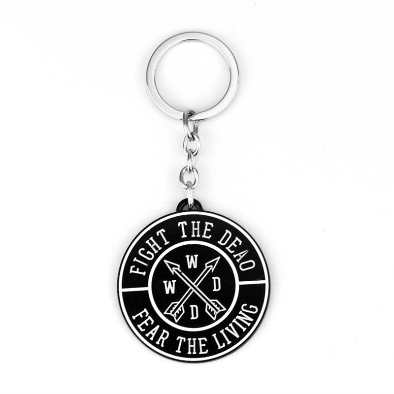 Game TV The Walking Dead Round Coins Alloy Car Key Chain Holder Best Friend Graduation Chirstmas Day Gift