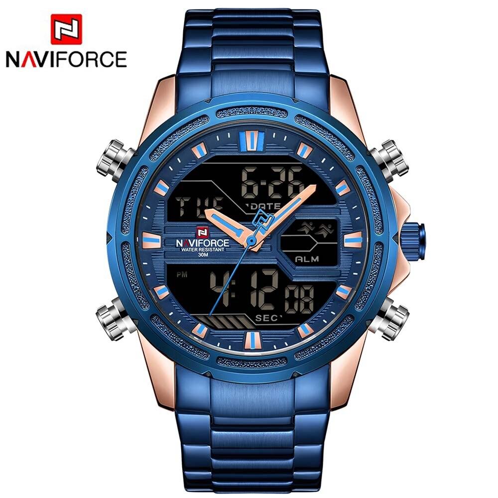 NAVIFORCE 9138 Marque Hommes Sport Montres Hommes LED Analogique Numérique Militaire Montre En Acier Inoxydable Quartz Homme Horloge Relogio Masculino
