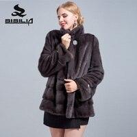 SISILIA 2018 новые женские из натуральной замши пальто с мехом высокого качества Короткие норковая шуба женские Роскошные пальто с мехом
