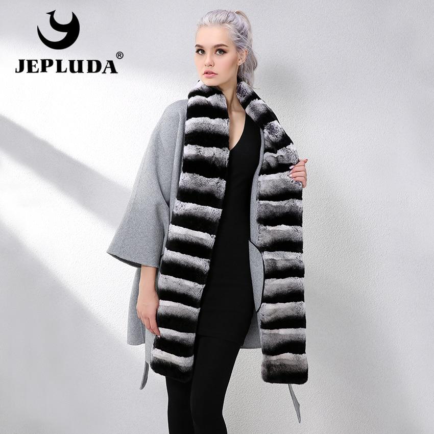 JEPLUDA Loose Cashmere Coat Full Pelt Genuine Rex Rabbit Fur Collar Fashion Wool Coat Real Fur Coat Genuine Leather Jacket Women