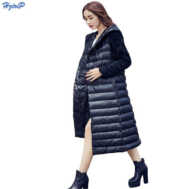 2016 Novas Mulheres Jaqueta de Inverno Moda Slim Com Capuz da Pele Do Falso costura Da Luva Quente Para Baixo Casaco Feminino de Ultra Jaqueta Leve Para Baixo Parkas