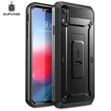 Supcase para iphone xr caso 6.1 polegada ub pro corpo inteiro áspero coldre capa de telefone com embutido protetor de tela & kickstand