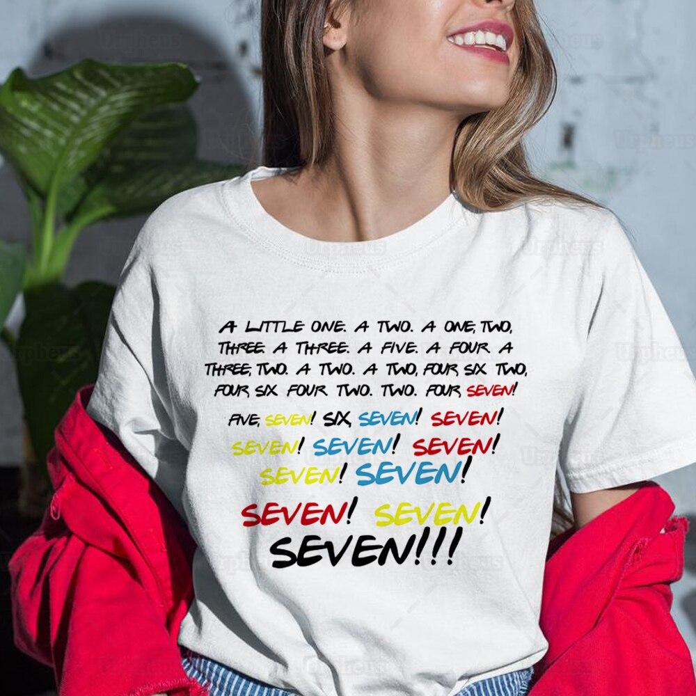 Engraçado amigos tv mostrar camisa monica sete sete sete amigos citações gráfico harajuku camisa de manga curta verão
