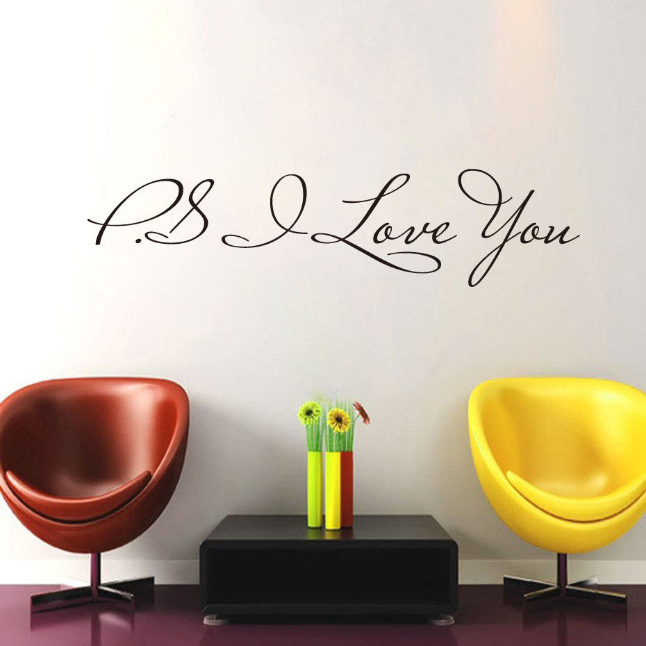 Dctop Ps I Love You Wall Stickers Wall Decor Bedroom Wall Decals Vinyl Adhesive Stickers Decoration