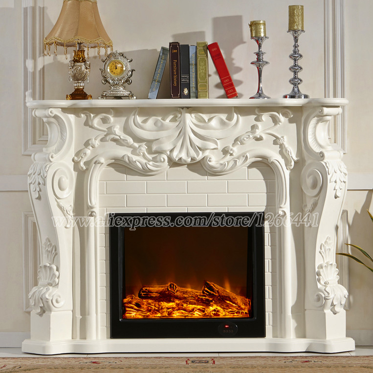 European style electric fireplace carved wood fireplace