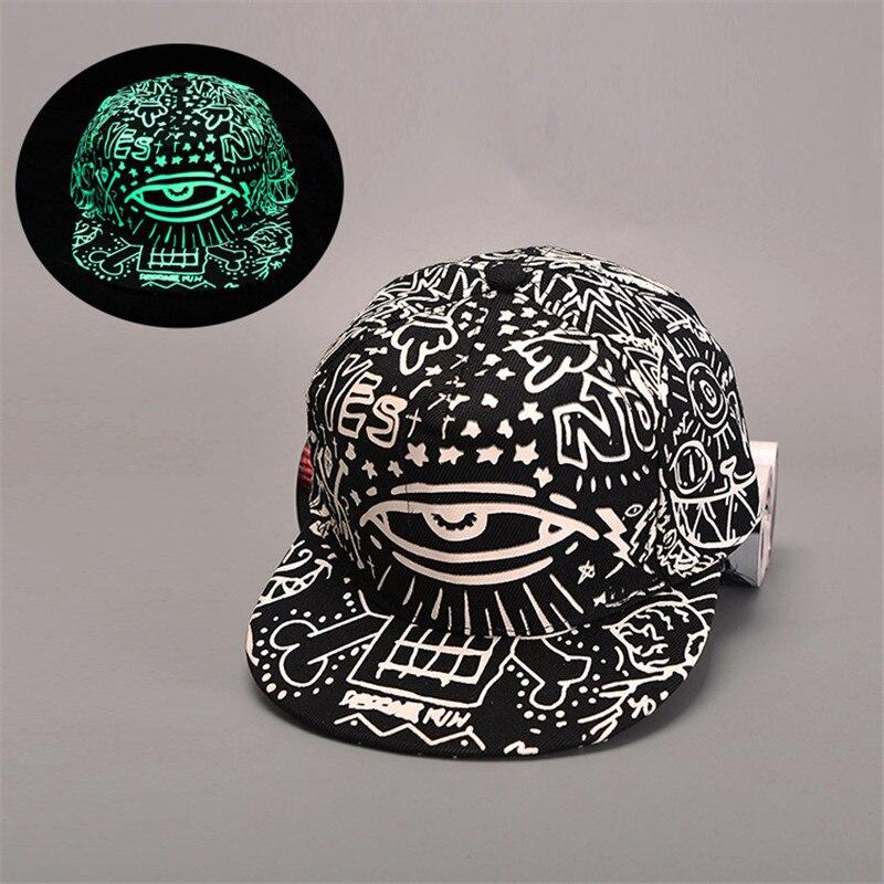 Fashion Graffiti Baseball Cap Men Hip Hop Cap Fluorescent Light Snapback Caps Men Casquette Women Girl Boy Luminous Hat