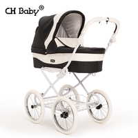 High Quality Luxury Baby Stroller Chbaby Leather baby car four wheels Shockproof Baby carriage EU Royal Style Baby Pram
