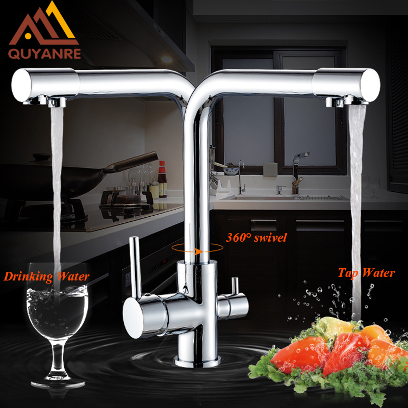 Dual Spout Kitchen Purification Faucet Drinking Tap Pure Water Faucet Hot and Cold Mixer Taps Chrome/Brushed Nickle/Gold led color changing brushed nickle basin faucet hot and cold water faucet waterfall spout dual handle tap