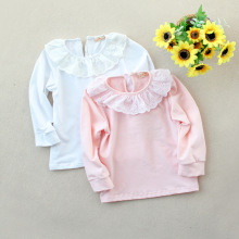 2017 Spring New Pattern Children top girls t-shirt kid girls flower cotton  top with lace girls open shoulder flower embroidery top