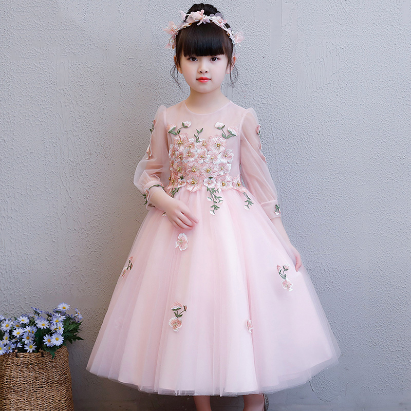 Exquisite Elegant Embroidery First Holy Communion   Flower     Girl     Dress   Kids Teenage Floral Wedding Princess Birthday Party   Dress