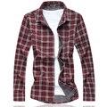 Бесплатная доставка плюс размер военные плед цвет хлопок отложным Воротником с длинным рукавом повседневная рубашка бюст 144 см М-7XL 6XL 5XL