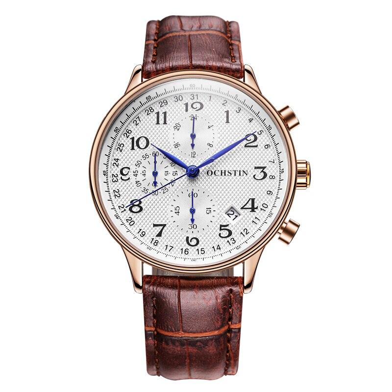OCHSTIN Luxury Brand Men Watch Sport Watches Men s Quartz Chronograp Date Male Clock Man Leather
