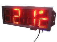 large size outdoor waterproof 8inch 4digits red color time and temperature clock(HST4-8R)free shipping