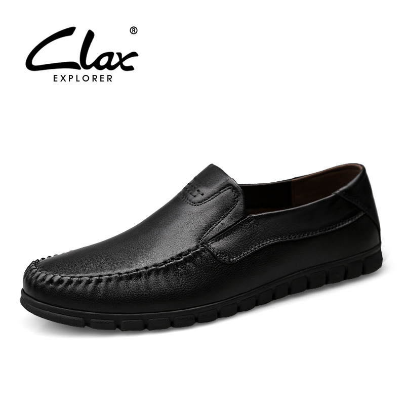 CLAX Mens Chaussures En Cuir Slip ons Automne Chaussure Homme Mâle Véritable Mocassin En Cuir Robe Chaussures Chaussures D'été Respirant