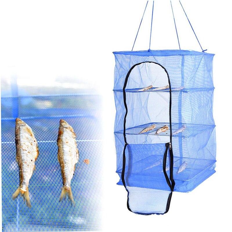 Foldable 4 Layers Drying Net Fish Net Drying Rack Hanging Vegetable Fish Dishes Dryer Net 40 X 40 X 65cm PE Hanger Fish Net