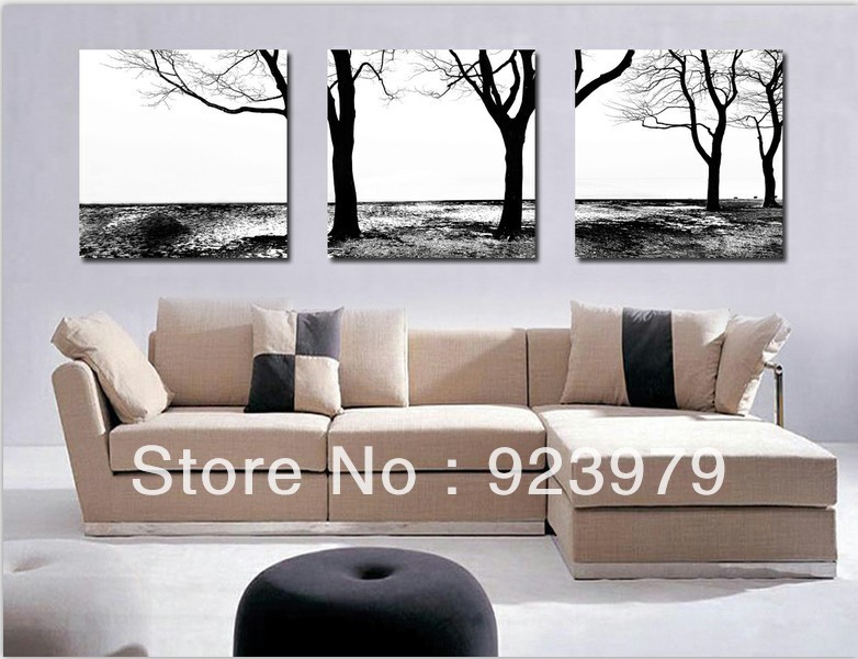 100 black white abstract art 3 panel canvas art framed tree wall art high quality