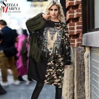 2017 Women Winter Plus Size Straight Black Midi Dress Rabbit Pattern Camouflage Patchwork Female Stylish Party