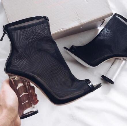 2017 Hot Selling Peep Toe Crystal Heel Transparent Ankle Boots Clear Cylinder Heel Back Zipper Pumps Sex Gladiator Sandal Boots
