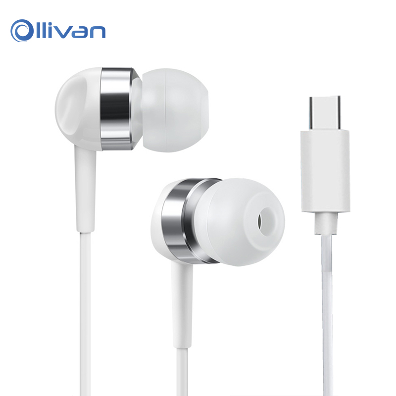 Ollivan Super Bass Type c Earphone with Mic Type-c Earbuds Noise Isolation Music Headset for Xiaomi mi 6, for LeEco Le 2/Max/Pro original xiaomi mi hybrid earphone in ear 3 5mm earbuds piston pro with microphone wired control for samsung huawei p10 s8