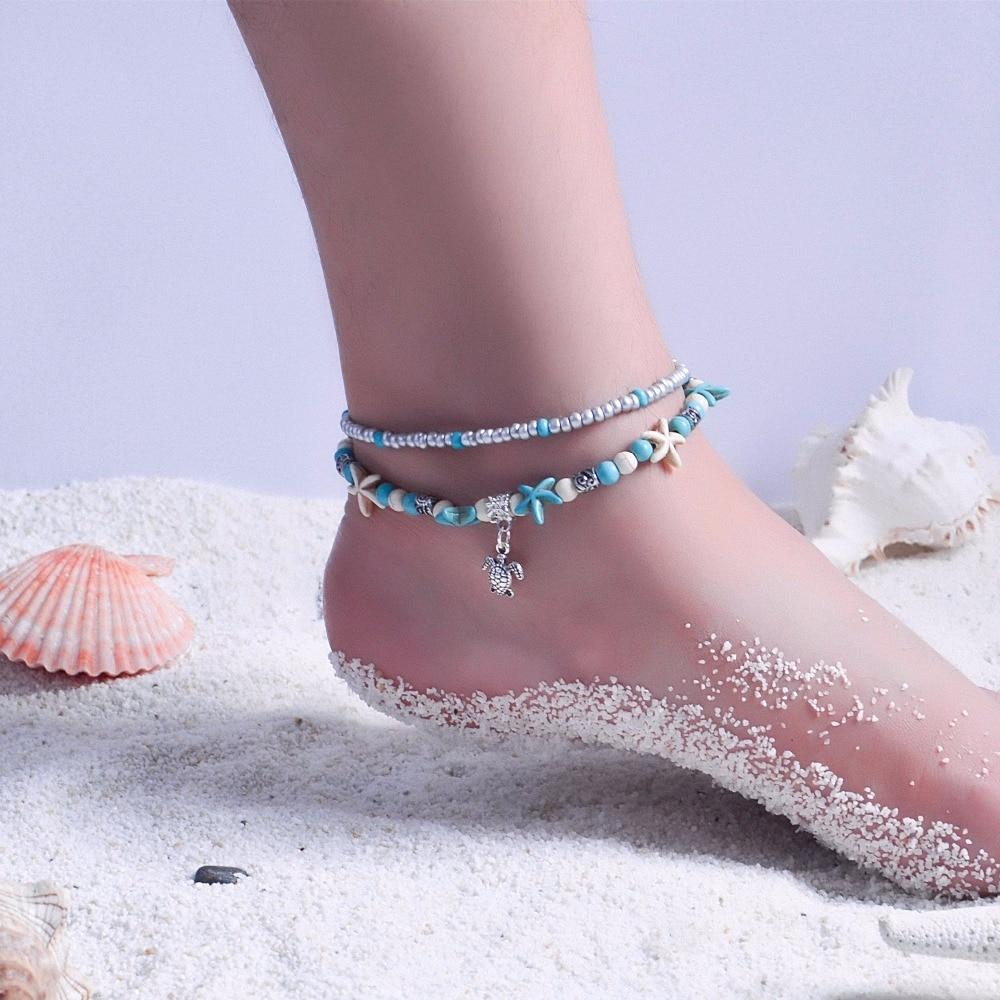 Schmuck & Zubehör Fußkettchen Jryfac 2 Schicht Strand Ankle Armbänder Für Frauen Silber Böhmen Perlen Shell Starfish Schildkröte Anhänger Mode Fuß Schmuck