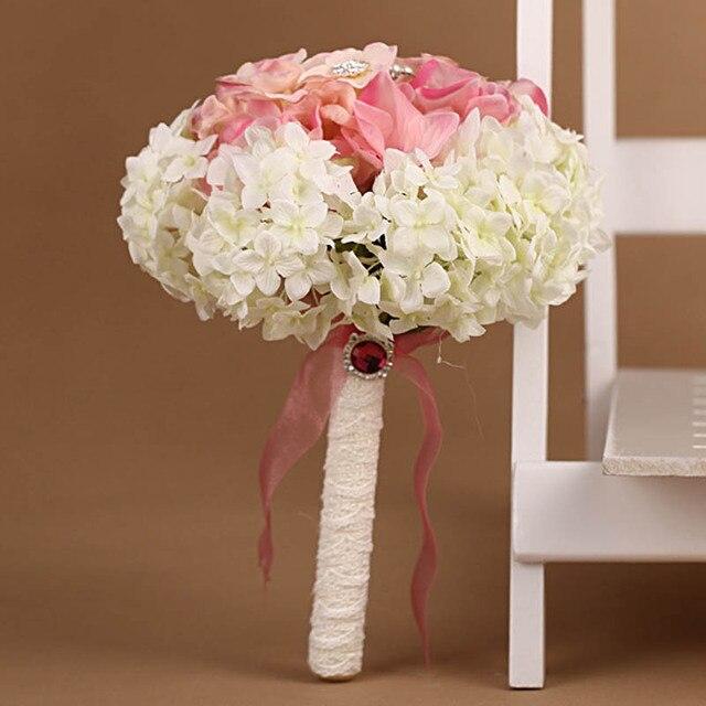 Новый Искусственный Свадебные Букеты Кристалл Букет Невесты Свадебные Цветы Гортензия Букет