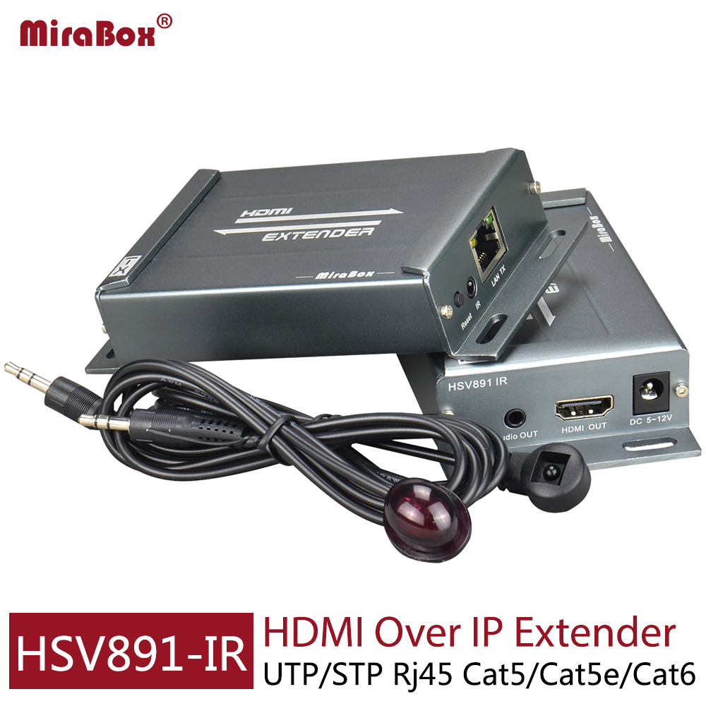 Mirabox HDMI Extender IR Receiver Via Rj45 Cat5 Cat5e Cat6 Over Ethernet Cable TCP//IP Up to 393ft Supports Full HD 1080P,Black HSV891-IR RX