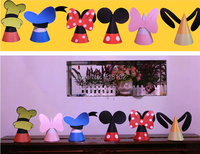 1 Set (6pcs Included) Mickey Family Paper Birthday Cap/ DIY Party Hat Best Gift For Kids Free Shipping