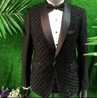 Бисер мужчин костюм конструкции Homme TERNO Сценические костюмы для певцов мужчины блесток Блейзер Танцы одежда куртка звездный стиль панк черн
