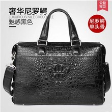 gete Men's leather crocodile handbag business casual male big bag high-grade large capacity briefcase man bag