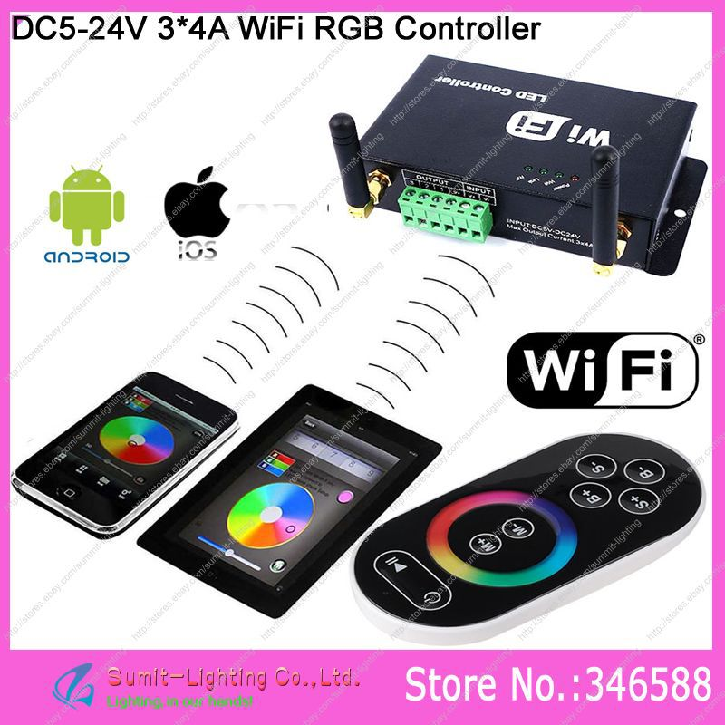 DC5V -24V 3*4A WiFi LED RGB Controller with RF Wireless Touch Remote,can be controlled by iPhone/iPad with Android or IOS system фильтр для воды новая вода expert osmos mo510