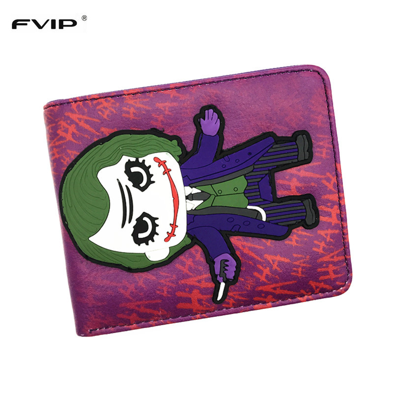 FVIP New 3D Anime Wallet DC Joker Harley Quinn Wonder Women Cartoon Short Purse With Coin Pocket Card Holder Free Shipping pocket monsters 3d pikachu short cosplay wallet pokemon yellow cartoon students gift money bag with card holders free shipping