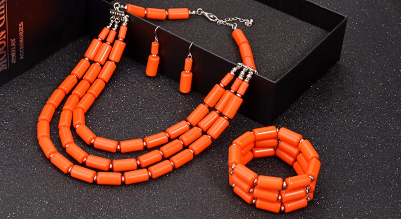 African Beaded Collar Necklace Earring Bracelet Sets