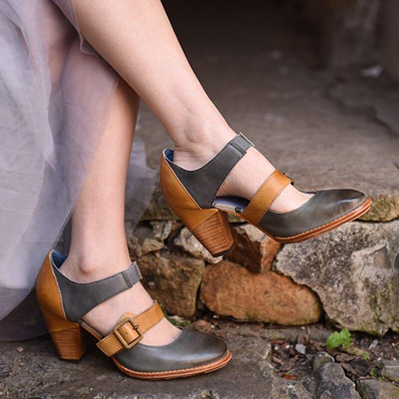 Artmu Women High Heel Gladiator Shoes Handmade Genuine Leather Shoes Dress 8 cm Heel Pump Shoes zapatos mujer tacon nine west women s ibby leather dress pump