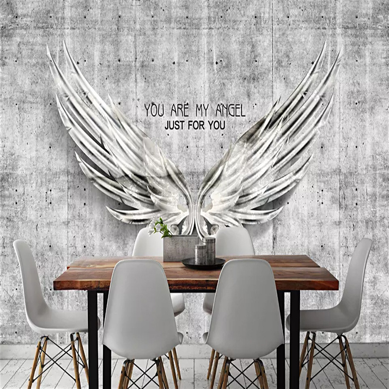 Custom Any Size Mural Wallpaper 3D Retro Cement Wall Angel Wings Photo Wall Paper Restaurant KTV Bar Cafe Background Wall Decor
