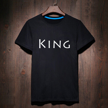 Harajuku Black White Woman King Queen T-shirt Geek T Shirt Woman Tee Street Wear Womens Letter Print Tshirt Cute Anime