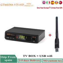 цена на V7S HD 1080P DVB-S2 Satellite Receiver Fresssat V7 Support Newcam Dolby AC3 With USB Wifi 1 Year Europe 7 lines Cccam For Spain
