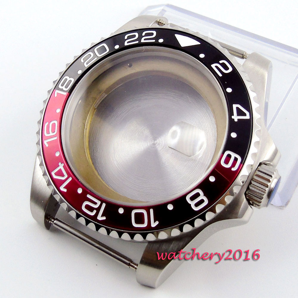 43mm Stainless Steel Sapphire glass red black bezel hardened top Luxury High quality fit ETA 2824 2836 movement Men's Watch Case цена и фото