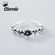 Chereda Silver Flower Ring Tiny Slimming Wedding Band Antique Elegent Turkish Jewelry Cocktail Luxury Accessary