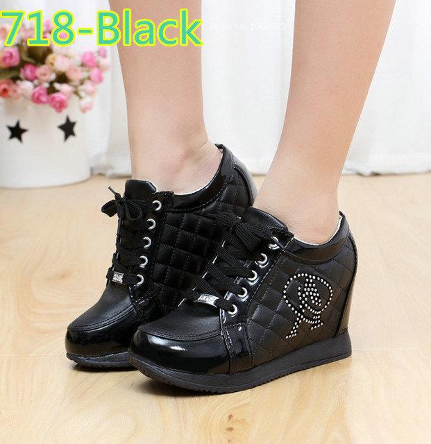 Black White Free Shipping Hidden Wedge Heels Fashion Women's Elevator Shoes Casual Shoes For Women wedge heel Rhinestone 2017