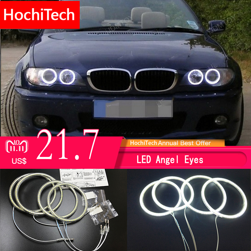 все цены на HochiTech for BMW E46 convertible facelift with xenon Ultra bright SMD white LED angel eyes 2600LM 12V halo ring kit day light