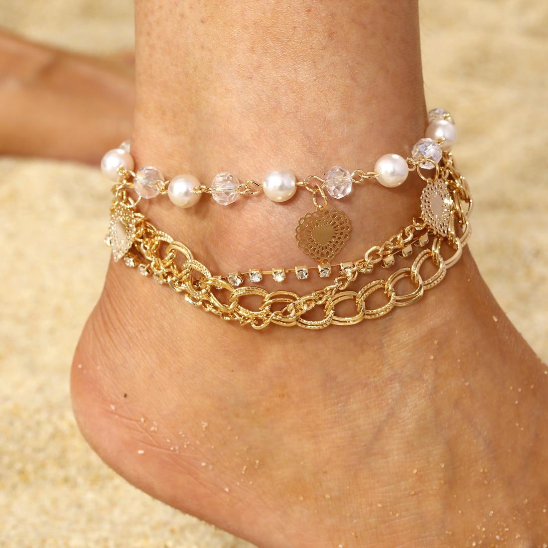 VertrauenswüRdig Schöne Multi-schicht Link Kette Kristall Perlen Fußkettchen Armband Sommer Strand Herz Fußkettchen Für Frauen Liebhaber Geschenke