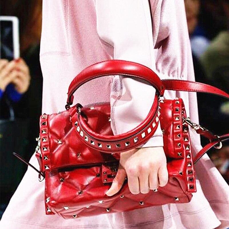 Marque de luxe italienne femmes Rivet Sac à bandoulière couleur contraste couture sacs à Main en cuir véritable sacs à Main
