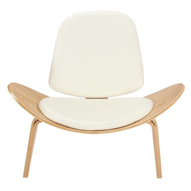 한스 웨 그너 스타일 세 다리 쉘 의자 재 합판 흰색 가짜 가죽 ...