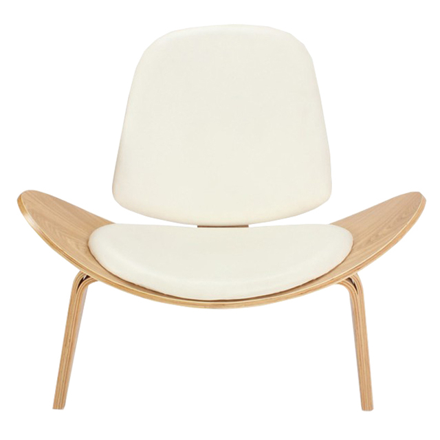 Nice Hans Wegner Style Three Legged Shell Chair Ash Plywood White Faux Leather  Living Room Furniture