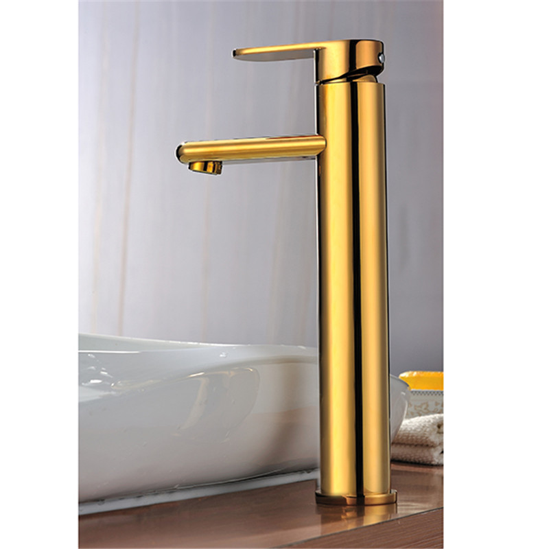 Bathroom golden faucet sink tall tap bathroom single handle single hole brass water mixer