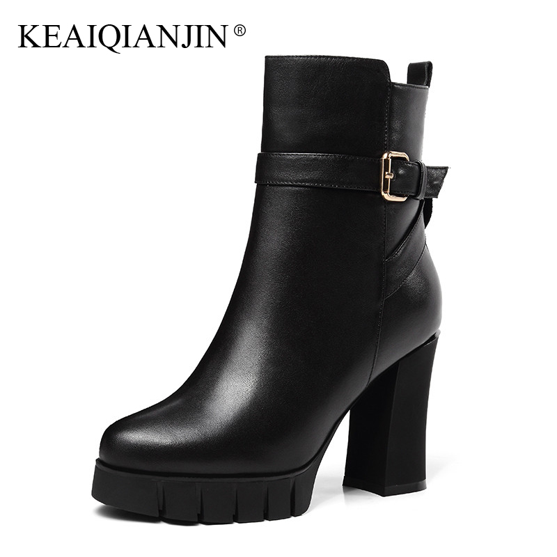 KEAIQIANJIN Woman Winter Wool Gothic Shoes High Heels Shearling Chelsea Boots Fashion Black Genuine Leather Wool