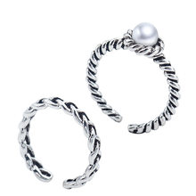 Jewelry Rope Woven Pearl Thai Silver Opening Rings For Women bague anillos(China)