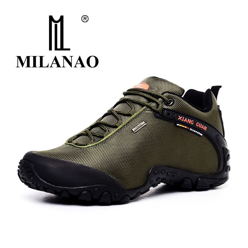 MILANAO Man Outdoor Hiking Shoes fishing Athletic Trekking Boots Women Climbing Walking Sneakers large SIZE EUR 36-48 ship from ru merrto winter cowhide man outdoor hiking shoes fishing athletic trekking boots waterproof climbing walking sneasker