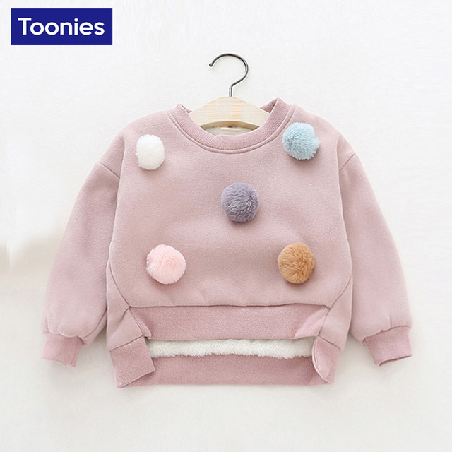 Hot Sale Children Fashion Hoodies Girls Warm Sweatshirts Girls Cute 2017 Winter Autumn Sweater Kids Fashion Top Clothes 3 Color
