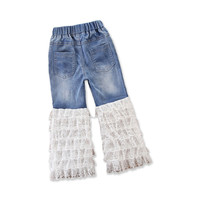2018 Girls Summer Thin Jeans Kids Casual Pants White Lace Jeans Trumpet Pants Cotton Trousers Sweet Costumes Kids